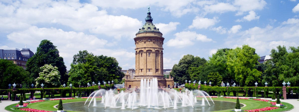 "The Water Tower in Mannheim on the ""Friedrichsplatz"", symbolic for the city of Mannheim - one office location of Dr. Marcus Hosser, specialist inheritance lawyer in Mannheim."