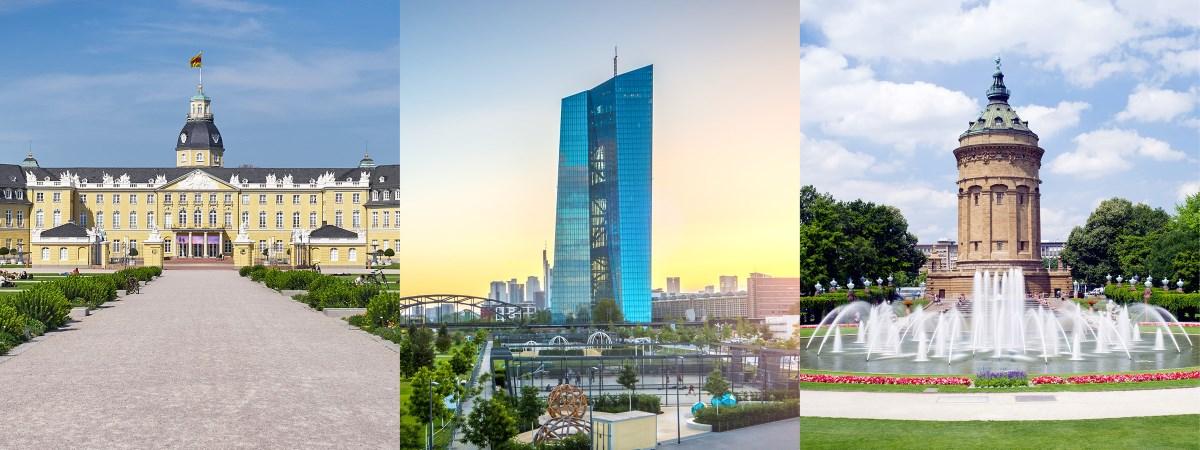 Das Schloss Karlsruhe, die europäische Zentralbank und der Mannheimer Wasserturm als Collage. Die 3 Standorte der Kanzlei von Dr. Marcus Hosser.